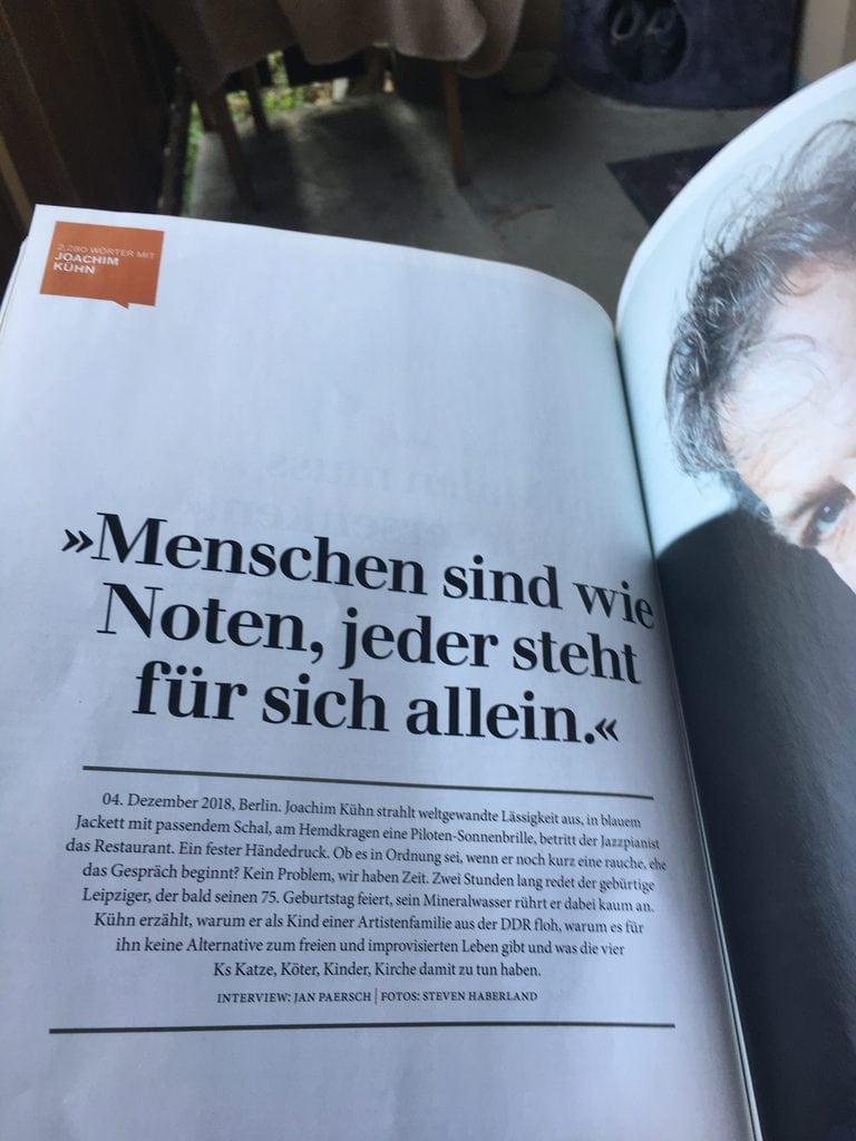 """Joachim Kühn in der Zeitschrift """"Galore"""""""