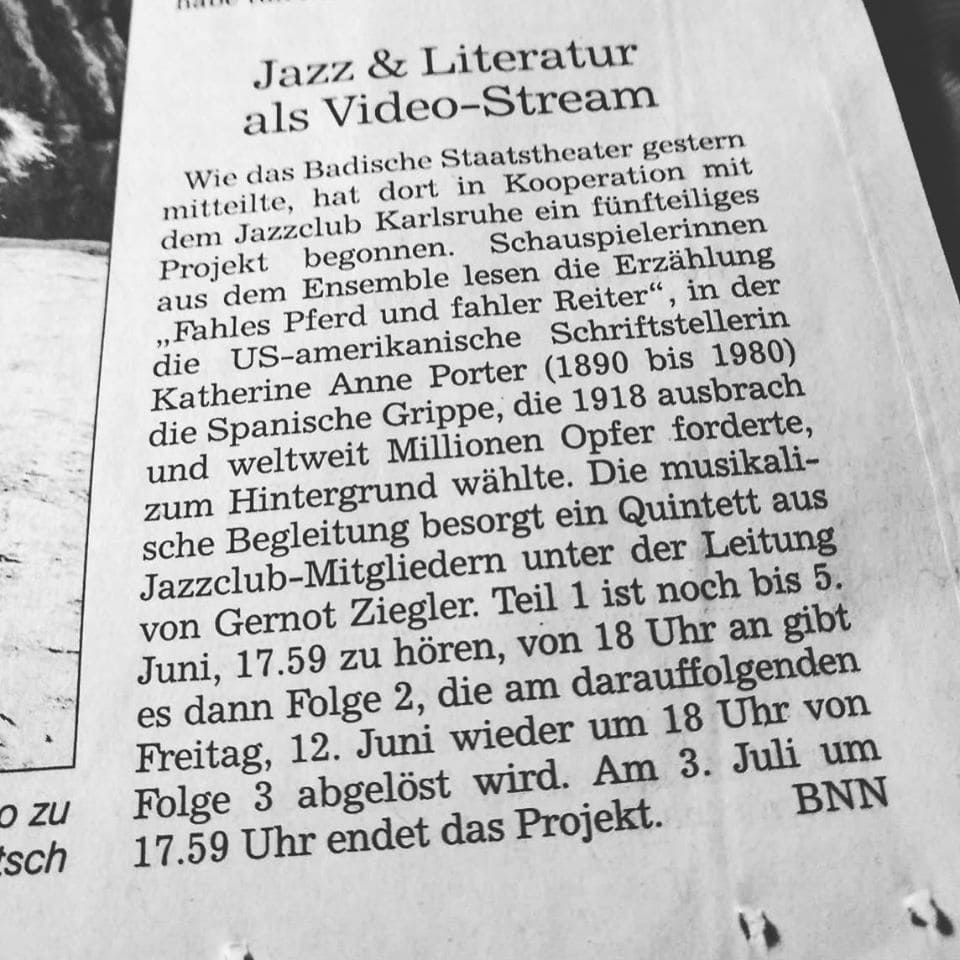 BNN: Jazz & Literatur als Video-Stream